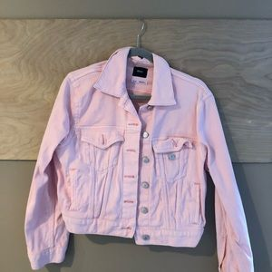 pink jean jacket -urban outfitters